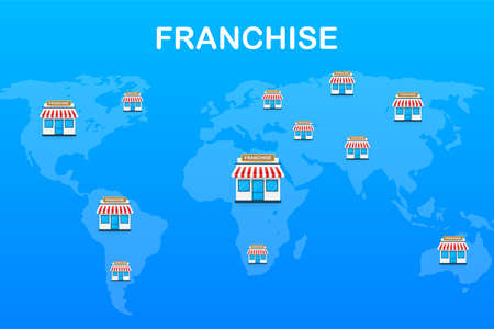 Franchise business concept, franchise marketing system. Vector stock illustration.