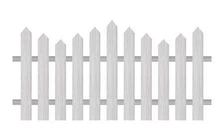 Picket fence, wooden textured, rounded edges. Vector stock illustration.