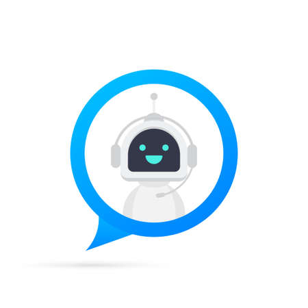 Chat Bot Using Laptop Computer, Robot Virtual Assistance Of Website Or Mobile Applications. Voice support service bot. Online support bot. Vector stock illustration. 일러스트