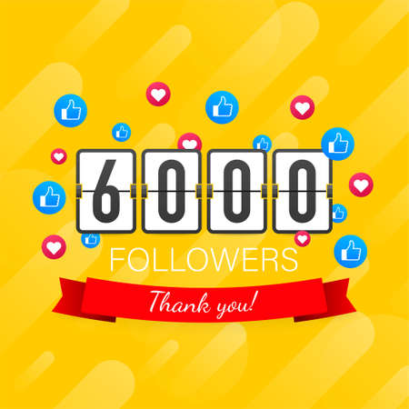 Vector thanks design template for network friends and followers. Thank you 6000 followers card. Image for Social Networks. Vector stock illustration.