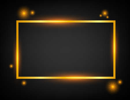 Vector golden frame with lights effects. Rectangle banner. Glowing magic frame. Vector stock illustration.