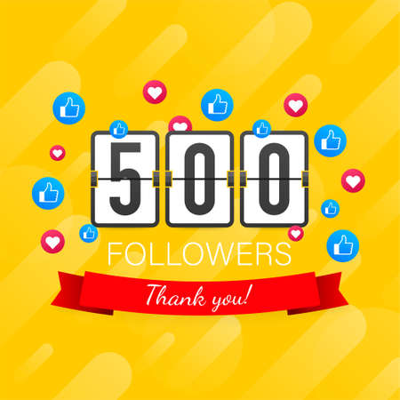 500 followers, Thank You, social sites post. Thank you followers congratulation card. Vector illustration