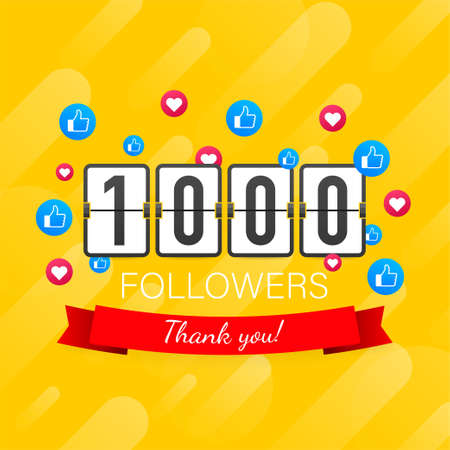 Vector thanks design template for network friends and followers. Thank you 1000 followers card. Image for Social Networks.