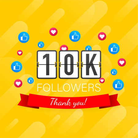 Vector thanks design template for network friends and followers. Thank you 10K followers card. Image for Social Networks.