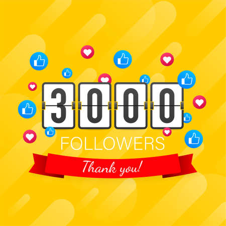 3000 followers, Thank You, social sites post. Thank you followers congratulation card. Vector stock illustration
