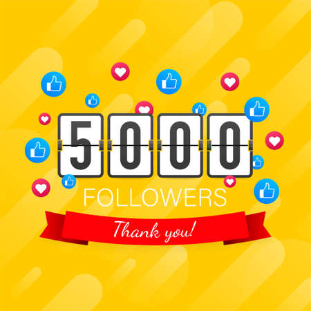 5000 followers, Thank You, social sites post. Thank you followers congratulation card. Vector stock illustration 일러스트