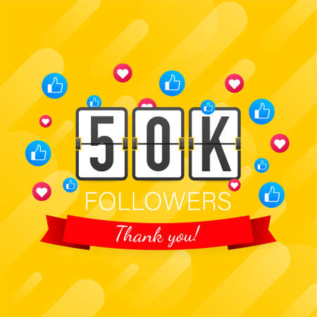50k followers, Thank You, social sites post. Thank you followers congratulation card. Vector stock illustration