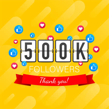 500k followers, Thank You, social sites post. Thank you followers congratulation card. Vector stock illustration 일러스트