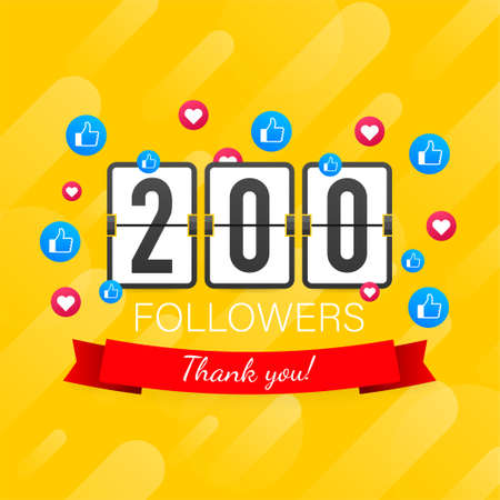 200 followers, Thank You, social sites post. Thank you followers congratulation card. Vector stock illustration 일러스트