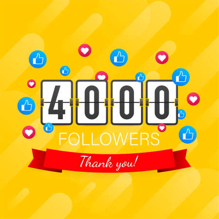 4000 followers, Thank You, social sites post. Thank you followers congratulation card. Vector stock illustration