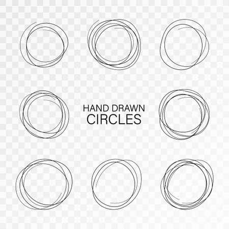 Set hand drawn ovals, felt-tip pen circles. Rough vector frame elements. Vector stock illustration.  イラスト・ベクター素材