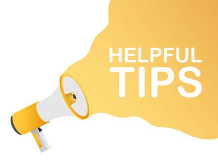 Hand holding megaphone - Helpful tips. Vector stock illustration.