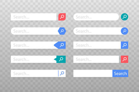 Set Search bar vector element design, set of search boxes ui template isolated on blue background. Vector stock illustration.  イラスト・ベクター素材
