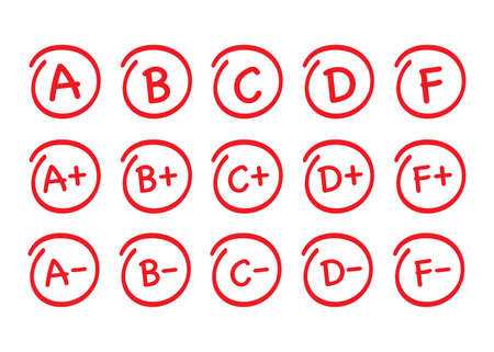 Ensemble de résultats de notation. Grade vectoriel dessiné à la main dans un cercle rouge. Illustration vectorielle de stock. Vecteurs