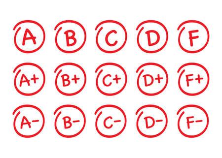 Zestaw wyników oceny. Ręcznie rysowane wektor klasy w czerwonym kółku. Czas ilustracja wektorowa. Ilustracje wektorowe