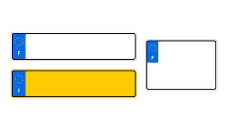 Number plate. Vehicle registration plates of France. Vector stock illustration.  イラスト・ベクター素材