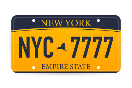 Vehicle registration of New York registration plates nummer car. Vector stock illustration. Stockfoto - 131231526
