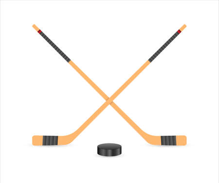 Ice Hockey puck and sticks. Sport symbol. Vector Illustration isolated on white background.