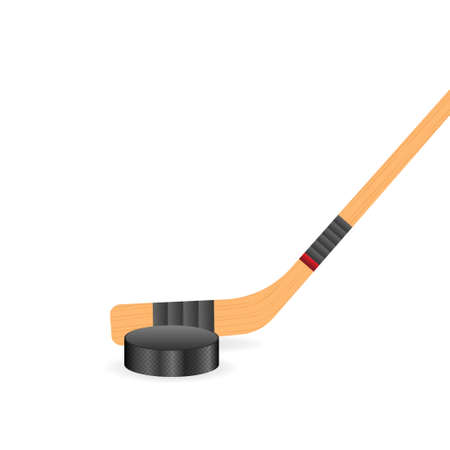 Ice Hockey puck and sticks. Sport symbol. Vector Illustration isolated on white background
