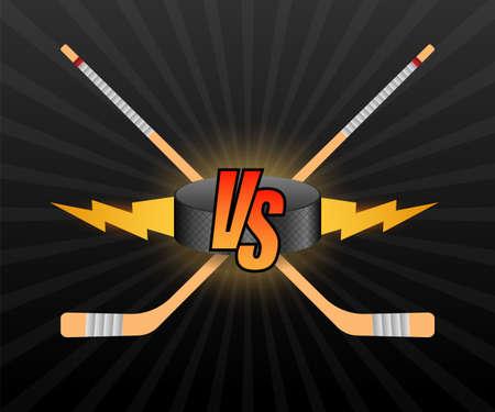 Hockey Versus Logo. VS Vector Letters Illustration. Competition Icon. Fight Symbol  イラスト・ベクター素材