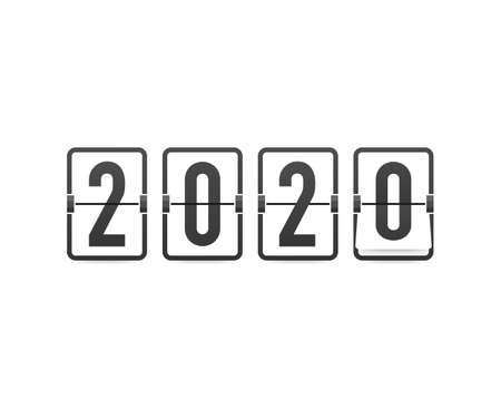 Countdown to new year 2020. Retro flip clock on black background. Template of greeting cards. Vector stock illustration.