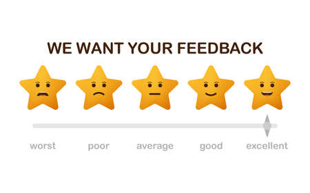 We want your feedback. Badge, stamp with happy and unhappy faces icons. Flat vector illustration on white background.