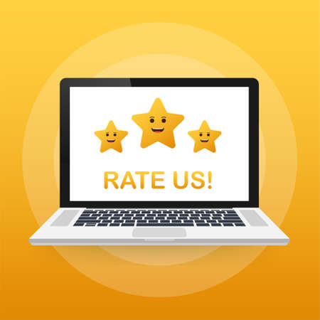 Rating stars. Flat design. User reviews, rating, classification concept. Vector Illustration. Enjoying the app. Rate us. Vector stock illustration. Çizim