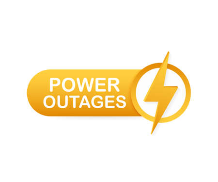 Power outages. Badge, icon, stamp logo Vector stock illustration
