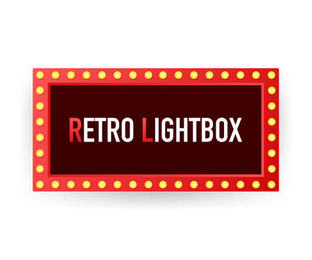 Retro lightbox billboard vintage frame. Lightbox with customizable design. Classic banner for your projects or advertising. Vector stock illustration.