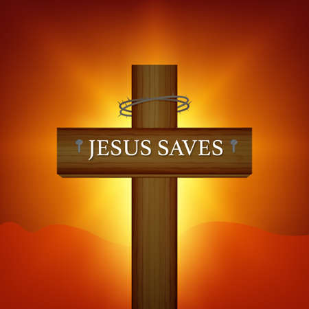 Cross wood vector design on yellow background,Happy Halloween cross icon design. Jesus saves