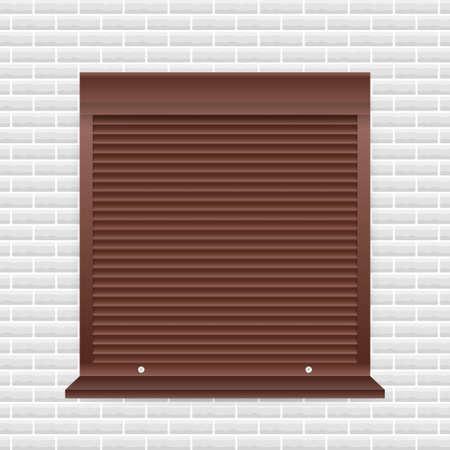 Roll up shutter on white backgroun. vector illustration.