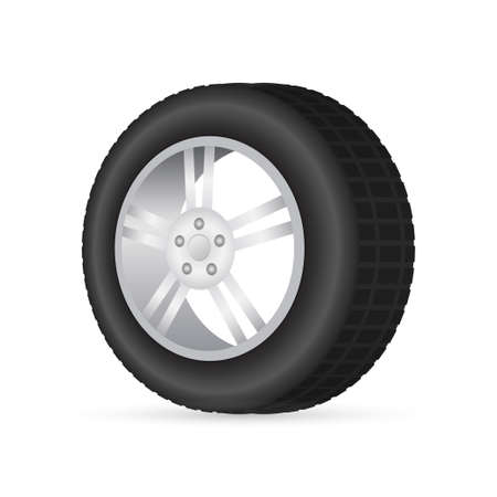 Realistic shining disk car wheel tyre set. Vector illustration.