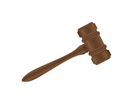 Wooden judge gavel and soundboard isolated. Vector stock illustration.  イラスト・ベクター素材