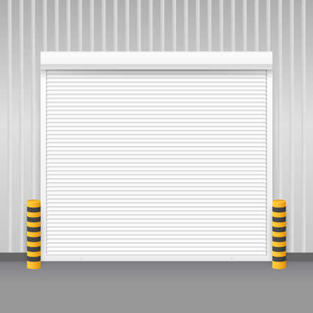 Vector Door with Rolling Shutters on white background. Vector illustration. Illustration