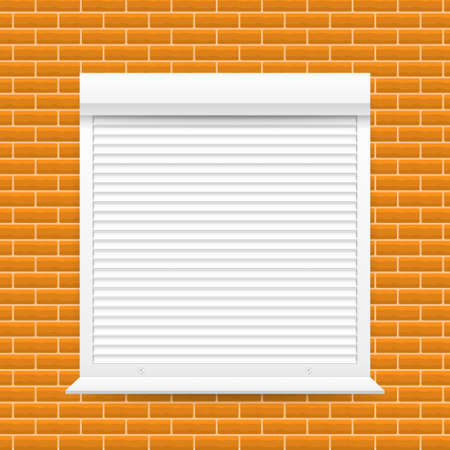 Roll up shutter on white backgroun. vector stock illustration.  イラスト・ベクター素材