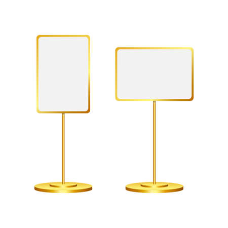 Stand signage with blank screen. Advertising signage mockup. Vector stock illustration.  イラスト・ベクター素材