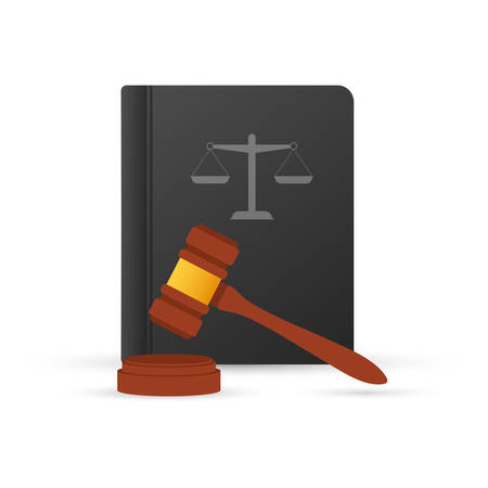 Justice scales and wood judge gavel. Wooden hammer with law code books. Vector stock illustration.
