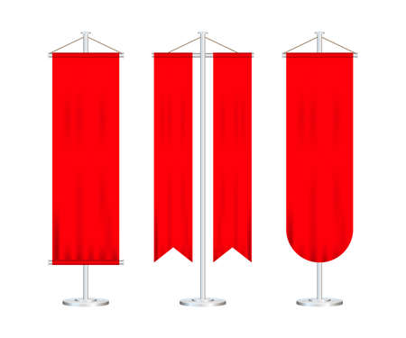 Signal red long sport advertising pennants banners samples on pole stand support pedestal realistic set. Vector stock illustration.