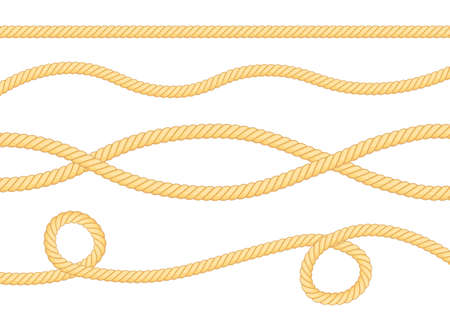Set of different thickness ropes isolated on white. Vector illustration.  イラスト・ベクター素材