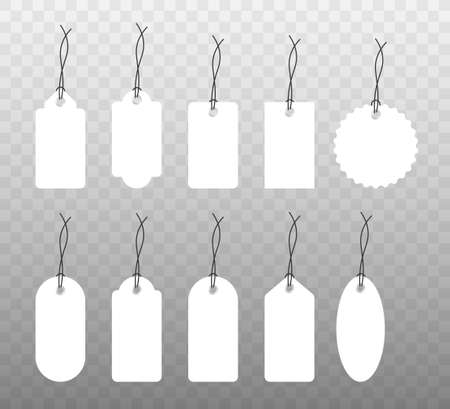 Set of various blank white paper tags, labels, stickers. Isolated vector elements, flat design. Vector illustration.