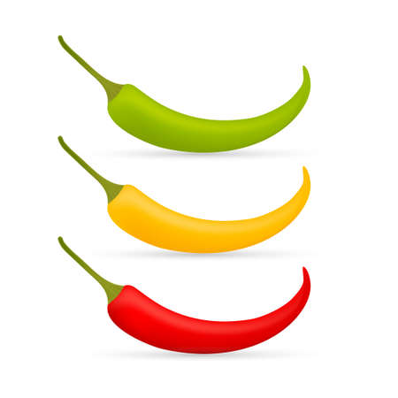 Hot chilli pepper vector set isolated on white background. Red, yellow and green