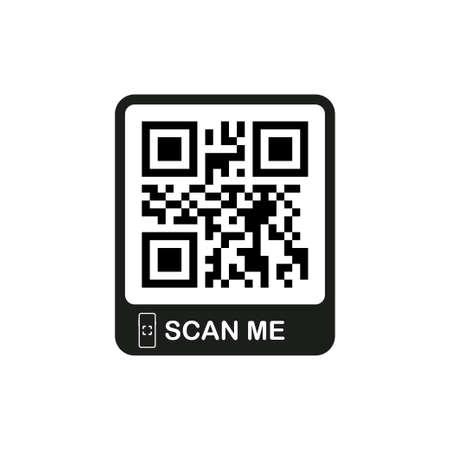 Codice QR per smartphone. L'iscrizione mi scansiona con l'icona dello smartphone. Codice QR per il pagamento. Illustrazione di riserva di vettore Vettoriali