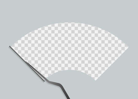 Car windscreen wipe glass, wiper cleans the windshield. Vector stock illustration.