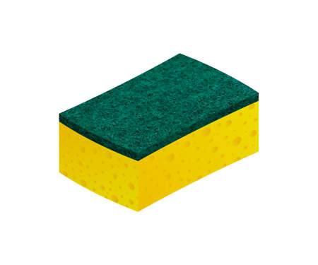 Scouring pads spong for housework cleaning and scouring pad domestic spong work tools. Vector illustration.