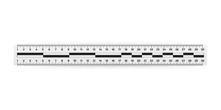 Analysis of the crime scene judicial measuring ruler, ruler lines for inspection of the crime scene. Vector stock illustration.