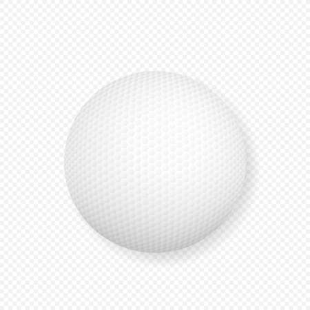 realistic 3d white classic golf ball icon closeup isolated on transparency grid background. Vector stock illustration. Illustration