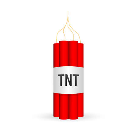 Red dynamite pack with electric time bomb, TNT. Vector stock illustration