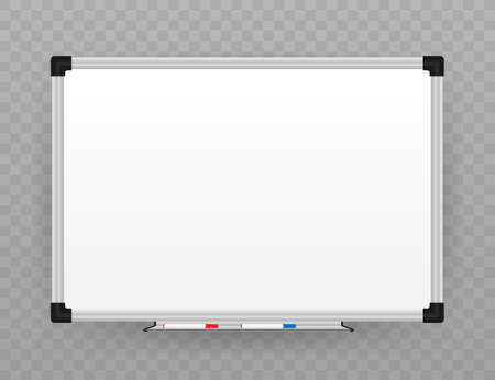 Realistic office Whiteboard. Empty whiteboard with marker pens. Vector stock illustration