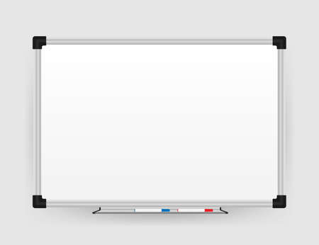 Tableau blanc de bureau réaliste. Tableau blanc vide avec marqueurs. Illustration vectorielle