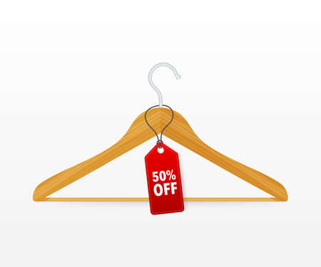 hangers with sale on white background. Vector stock illustration Illustration